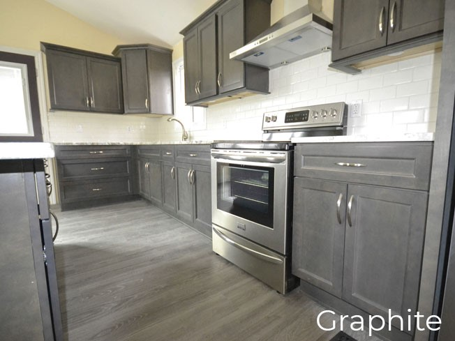 graphite transitional style kitchen cabinet