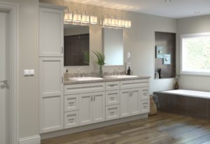 base bathroom cabinets with gold pulls