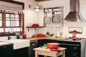 rustic kitchen with steel range hood