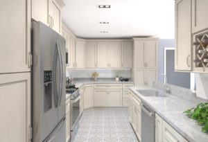 tile flooring and white shelves in galley kitchen
