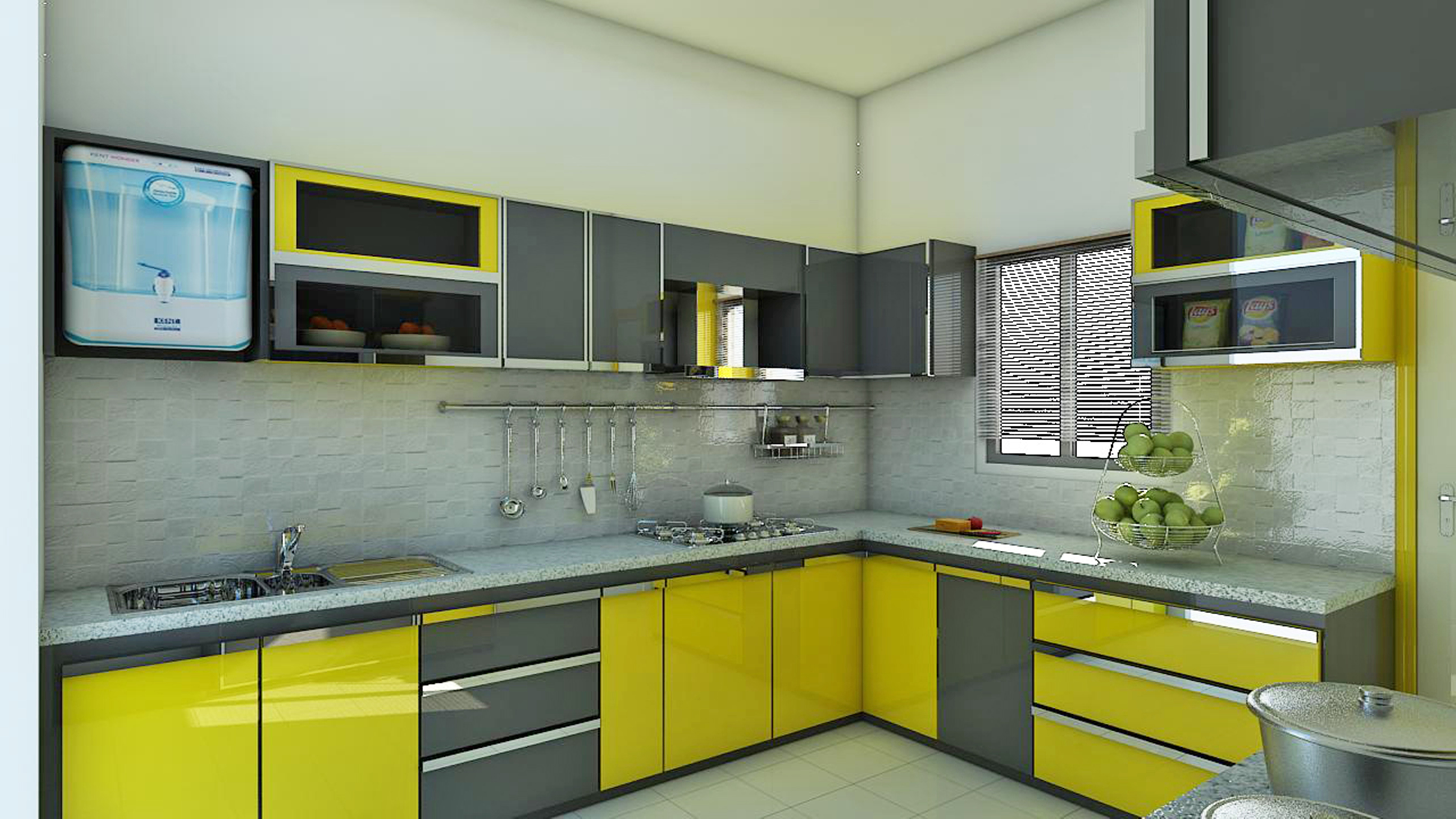 yellow and grey kitchen cabinets