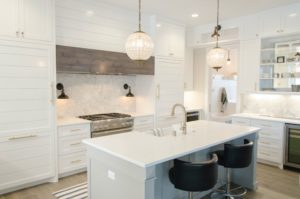 minimalist kitchen with white marble counters