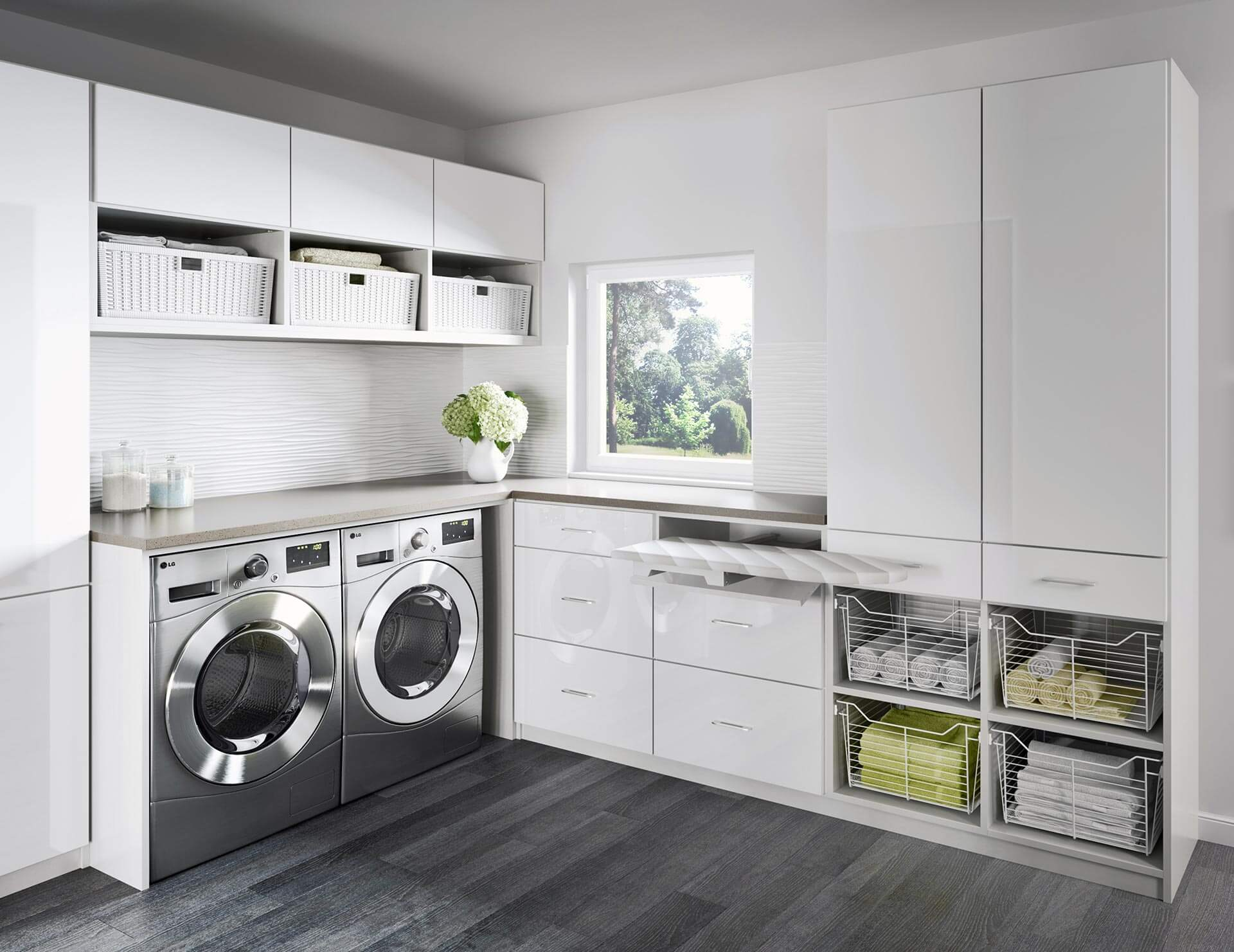 laundry room white dark wood floors and white cabinets
